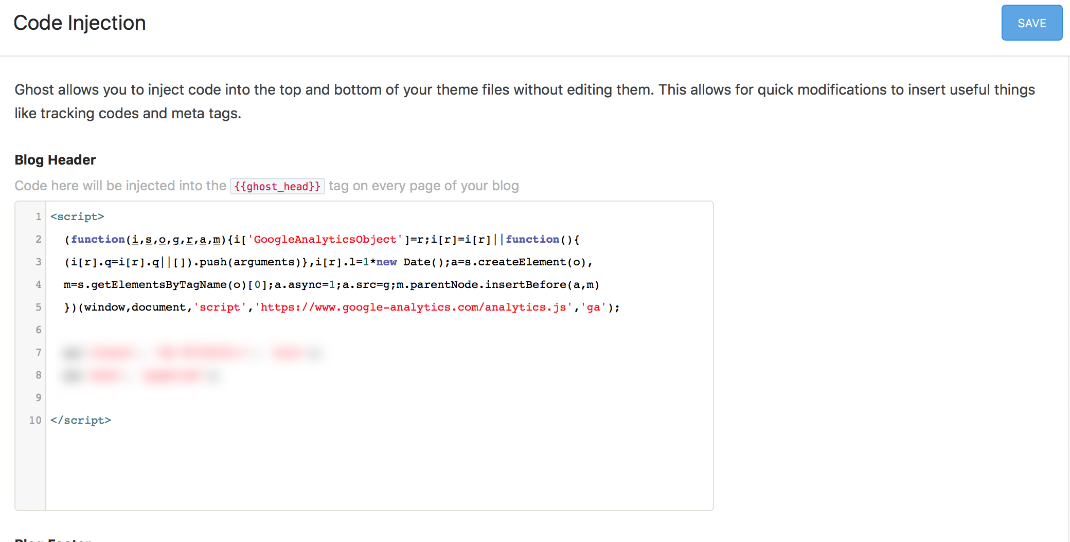 Add code straight to every page, in this case Google Analytics